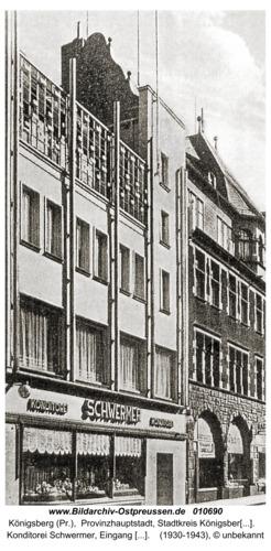 Königsberg, Konditorei Schwermer, Eingang Münzstraße