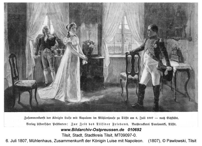Tilsit, 6. Juli 1807, Mühlenhaus, Zusammenkunft der Königin Luise mit Napoleon