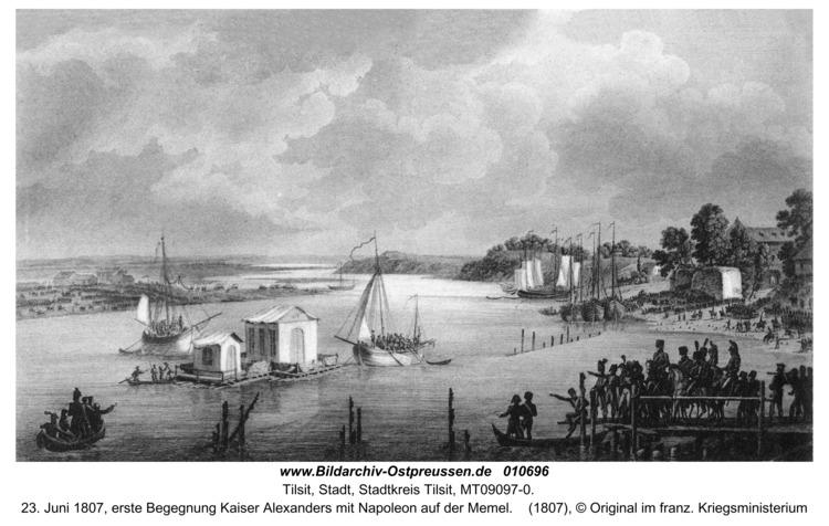 Tilsit, 23. Juni 1807, erste Begegnung Kaiser Alexanders mit Napoleon auf der Memel