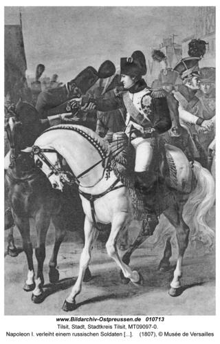 Tilsit, Napoleon I. verleiht einem russischen Soldaten das Kreuz der Ehrenlegion