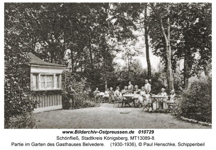 Schönfließ Stadtkreis Königsberg, Partie im Garten des Gasthauses Belvedere