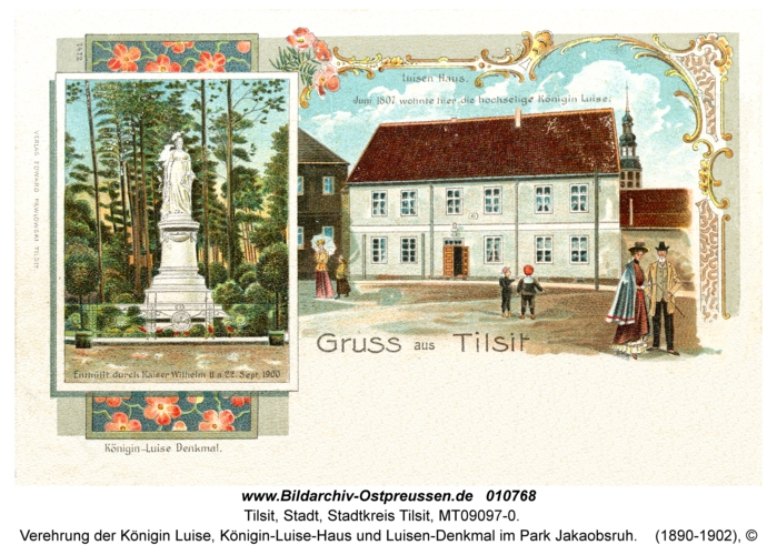 Tilsit, Verehrung der Königin Luise, Königin-Luise-Haus und Luisen-Denkmal im Park Jakaobsruh