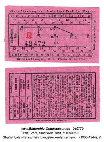 Tilsit, Straßenbahn-Fahrschein, Langstreckenfahrschein
