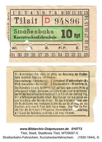 Tilsit, Straßenbahn-Fahrschein, Kurzstreckenfahrschein