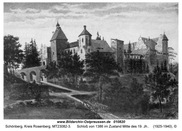 Schönberg Kr. Rosenberg I, Schloß von 1386 im Zustand Mitte des 19. Jh.