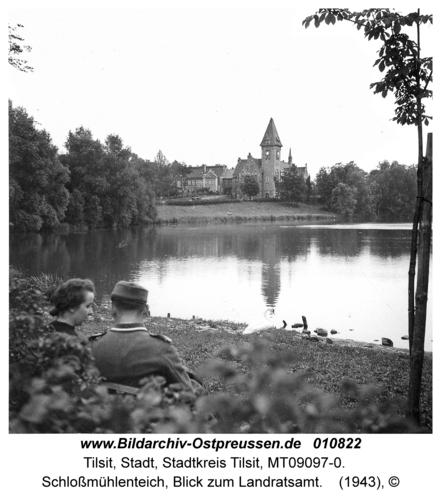 Tilsit, Schloßmühlenteich, Blick zum Landratsamt