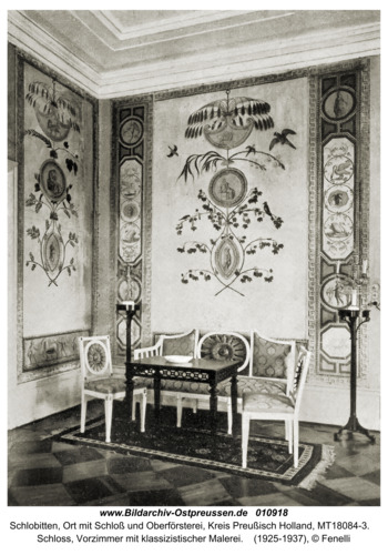 Schlobitten, Schloss, Vorzimmer mit klassizistischer Malerei