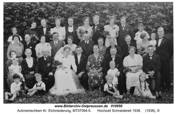 Ackmenischken Kr. Elchniederung, Hochzeit Schneidereit 1938