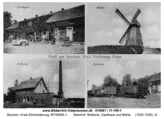Stucken, Bahnhof, Molkerei, Gasthaus und Mühle