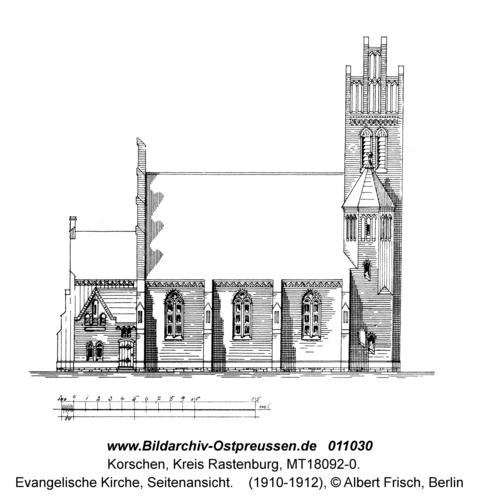 Korschen, Evangelische Kirche, Seitenansicht