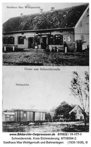 Schneiderende, Gasthaus Max Wohlgemuth und Bahnanlagen