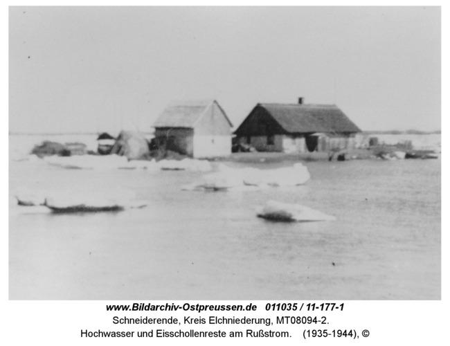 Schneiderende, Hochwasser und Eisschollenreste am Rußstrom