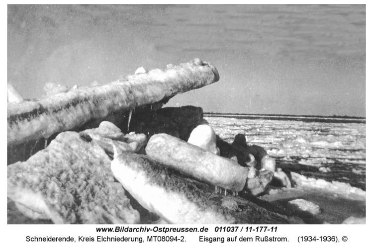 Schneiderende, Eisgang auf dem Rußstrom