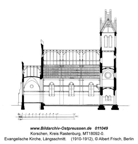 Korschen, Evangelische Kirche, Längsschnitt