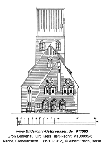 Groß Lenkenau, Kirche, Giebelansicht