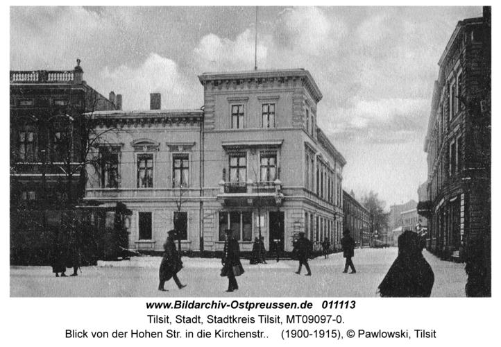 Tilsit, Blick von der Hohen Str. in die Kirchenstr.