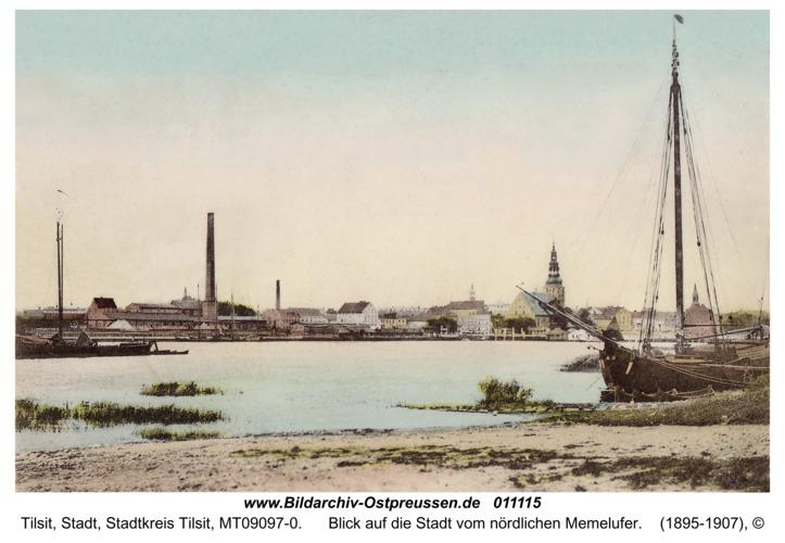 Tilsit, Blick auf die Stadt vom nördlichen Memelufer