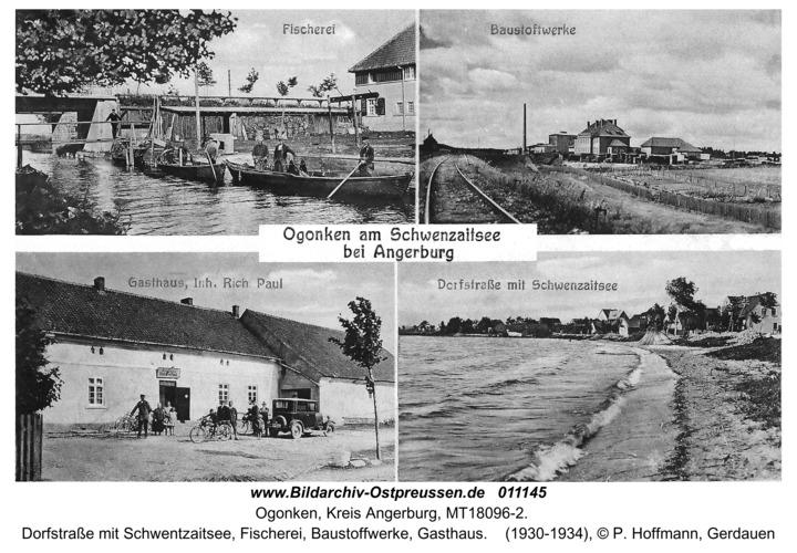 Schwenten (fr. Ogonken), Dorfstraße mit Schwentzaitsee, Fischerei, Baustoffwerke, Gasthaus