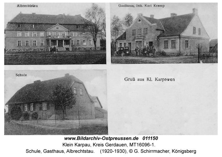 Klein Karpau, Schule, Gasthaus, Albrechtstau
