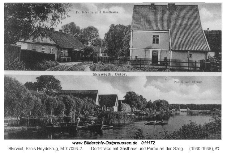 Skirwiet, Dorfstraße mit Gasthaus und Partie an der Szog