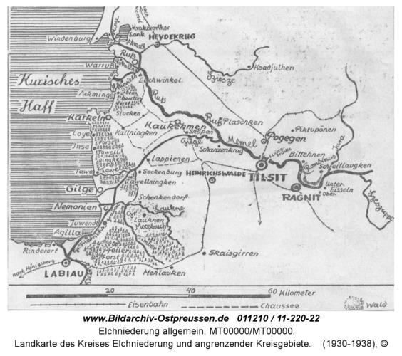Landkarte des Kreises Elchniederung und angrenzender Kreisgebiete