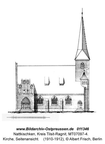Nattkischken, Kirche, Seitenansicht