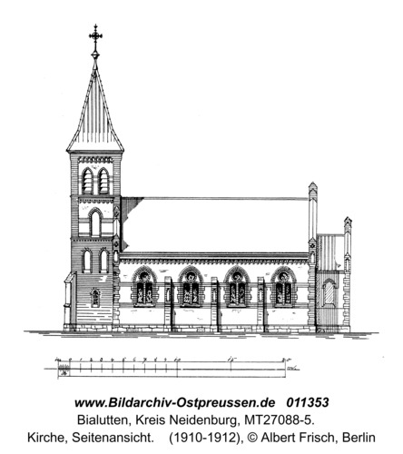 Bialutten, Kirche, Seitenansicht