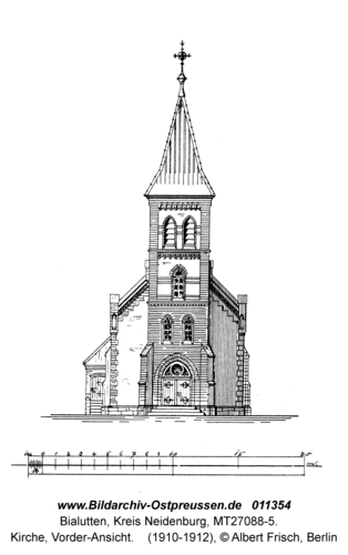 Bialutten, Kirche, Vorder-Ansicht