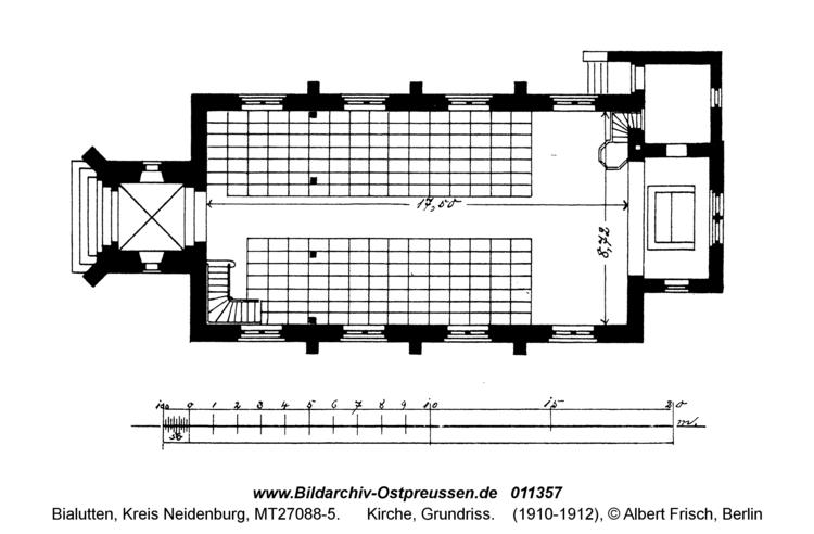 Bialutten, Kirche, Grundriss