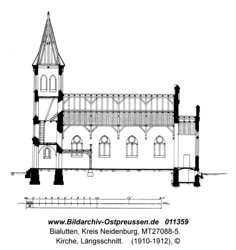 Bialutten, Kirche, Längsschnitt