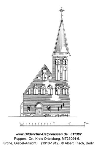 Puppen, Kirche, Giebel-Ansicht