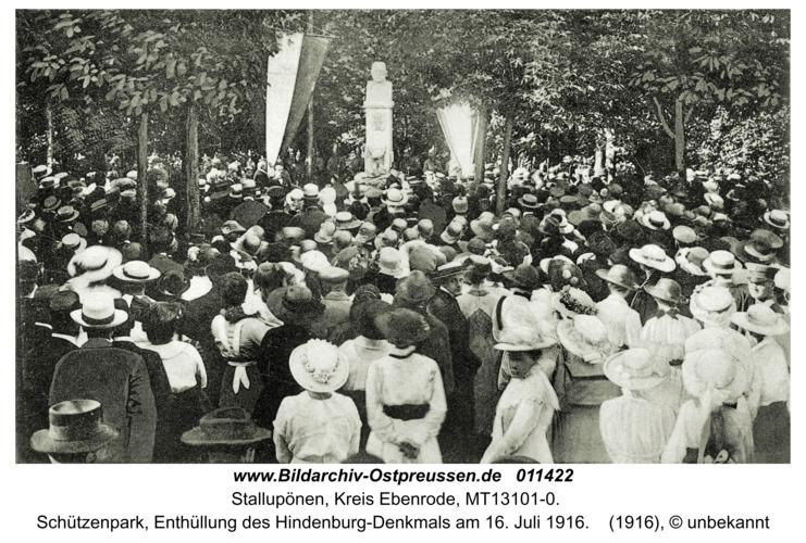 Ebenrode, Schützenpark, Enthüllung des Hindenburg-Denkmals am 16. Juli 1916