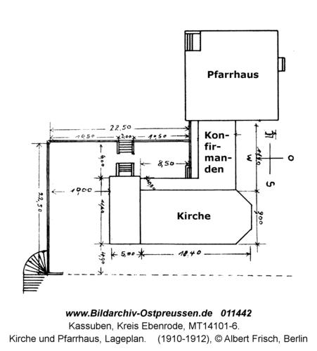 Kassuben, Kirche und Pfarrhaus, Lageplan