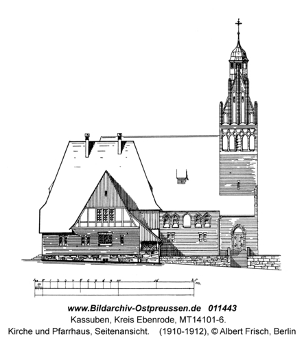 Kassuben, Kirche und Pfarrhaus, Seitenansicht