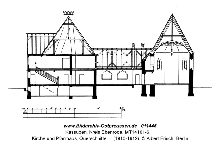 Kassuben, Kirche und Pfarrhaus, Querschnitte
