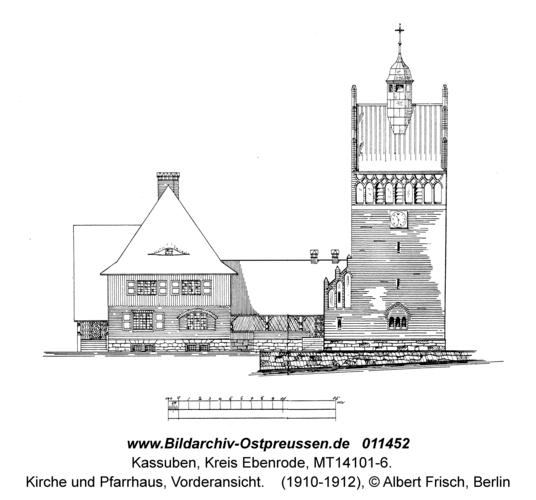 Kassuben, Kirche und Pfarrhaus, Vorderansicht