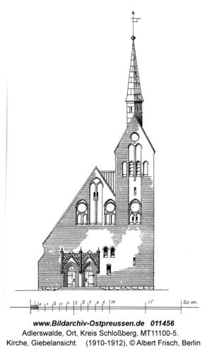 Adlerswalde, Kirche, Giebelansicht