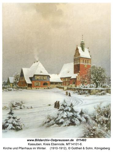 Kassuben, Kirche und Pfarrhaus im Winter
