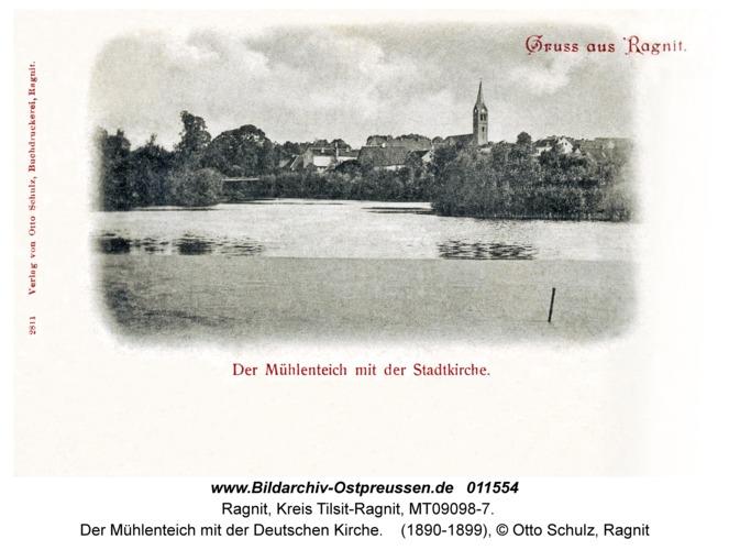 Ragnit, Der Mühlenteich mit der Deutschen Kirche