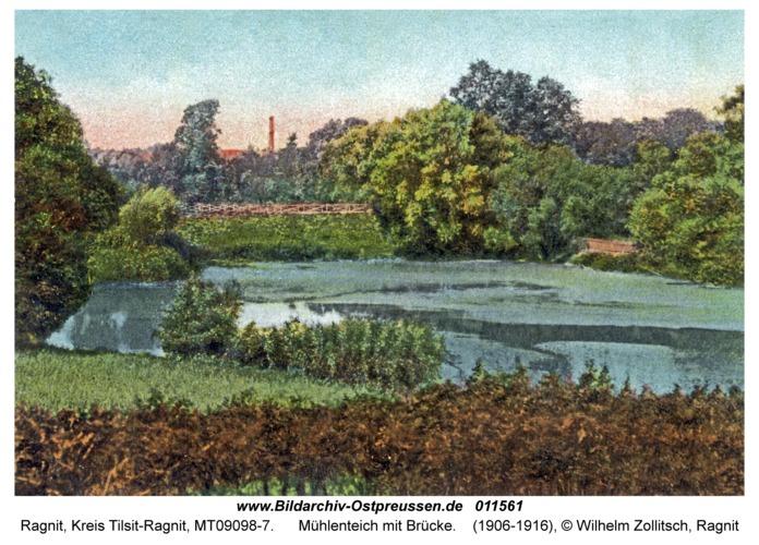 Ragnit, Mühlenteich mit Brücke