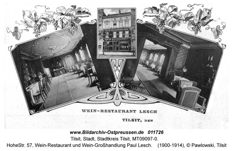 Tilsit, Hohe Str. 57, Wein-Restaurant und Wein-Großhandlung Paul Lesch