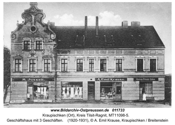 Kraupischken (Ort), Geschäftshaus mit 3 Geschäften