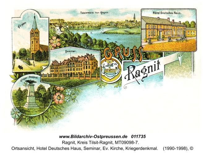Ragnit, Ortsansicht, Hotel Deutsches Haus, Seminar, Ev. Kirche, Kriegerdenkmal