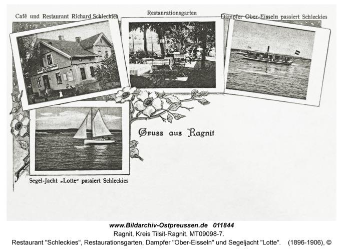 """Ragnit, Restaurant """"Schleckies"""", Restaurationsgarten, Dampfer """"Ober-Eisseln"""" und Segeljacht """"Lotte"""""""