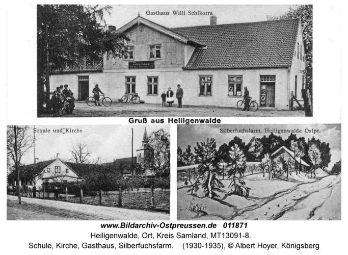 Heiligenwalde Kr. Samland, Schule, Kirche, Gasthaus, Silberfuchsfarm