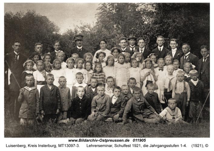 Luisenberg, Lehrerseminar, Schulfest 1921, die Jahrgangsstufen 1-4