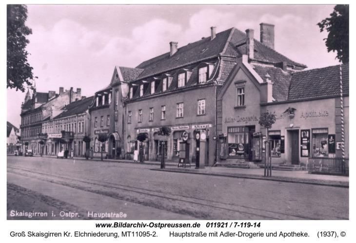Kreuzingen, Hauptstraße mit Adler-Drogerie und Apotheke
