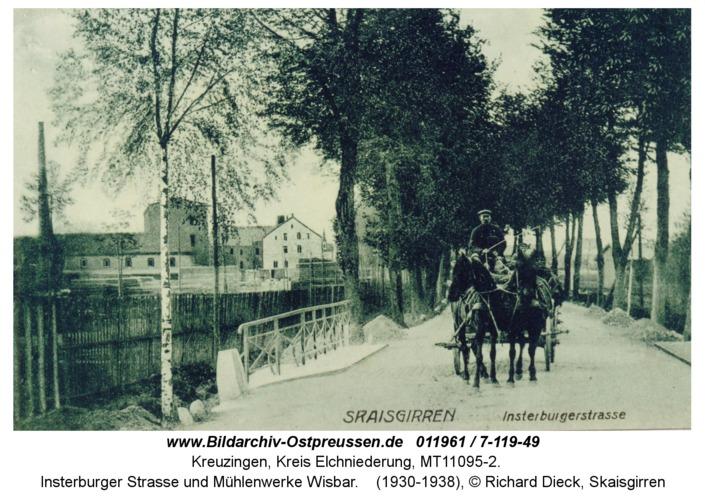 Kreuzingen, Insterburger Straße und Mühlenwerke Wisbar