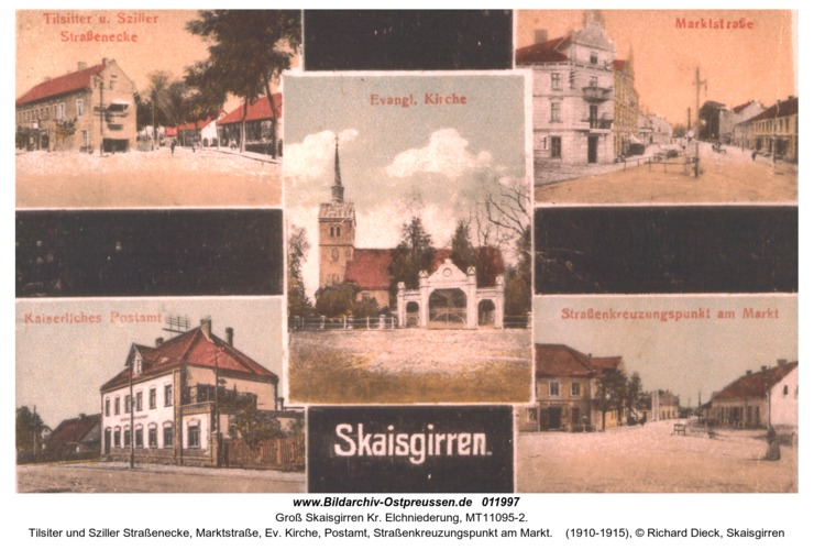 Groß Skaisgirren, Tilsiter und Sziller Straßenecke, Marktstraße, Ev. Kirche, Postamt, Straßenkreuzungspunkt am Markt