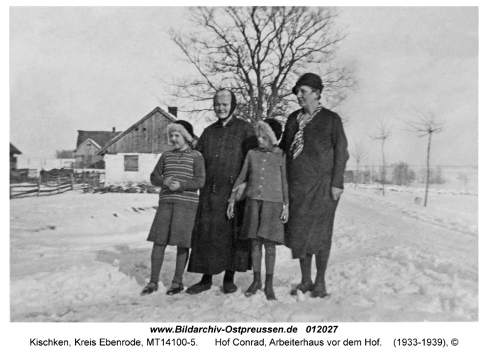 Kischken Kr. Ebenrode, Hof Conrad, Arbeiterhaus vor dem Hof